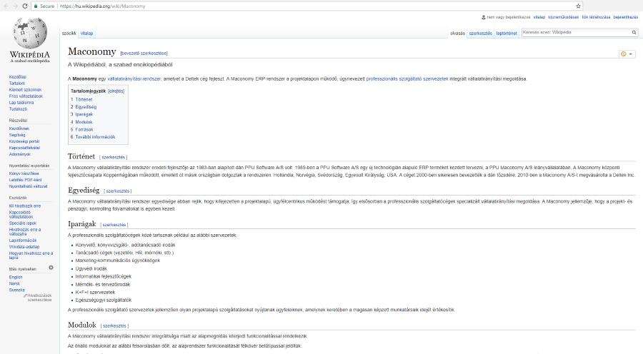 Maconomy ERP rendszer Wikipédia szócikk magyarul