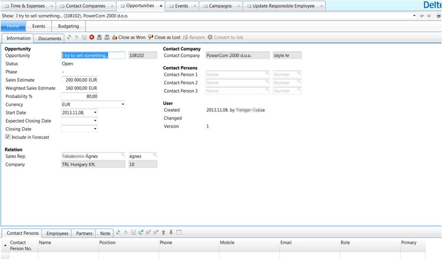 Maconomy vállalatirányítási rendszer képernyőkép - Üzleti lehetőség