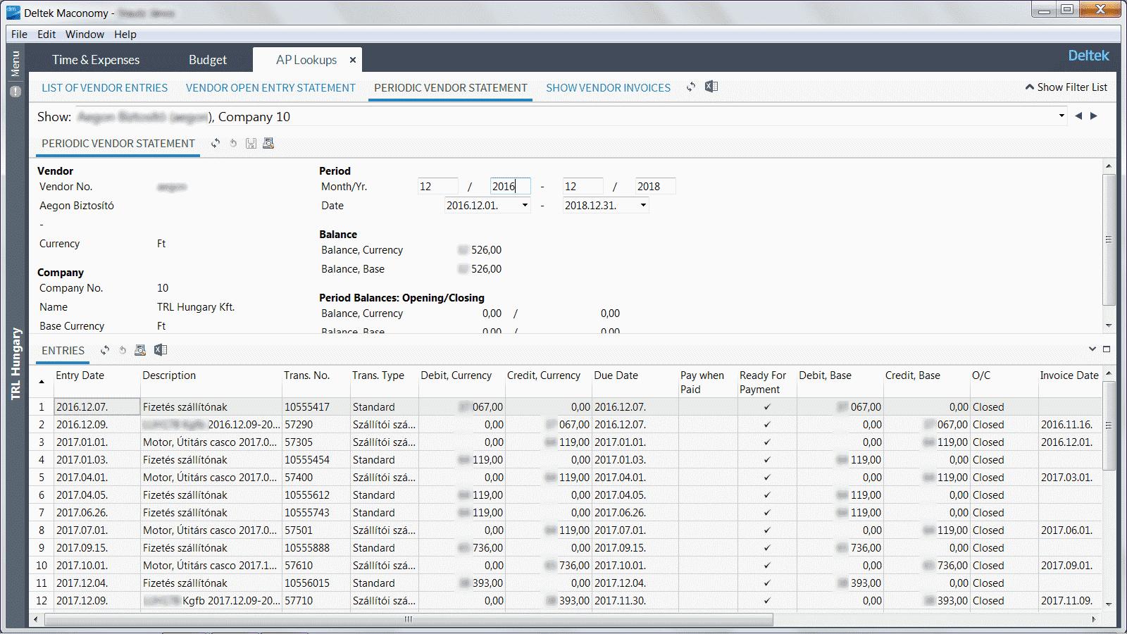 ERP rendszer pénzügy modul